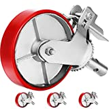 OrangeA Scaffold Casters, 8' (Set of 4) - Scaffolding Wheels Heavy Duty, 4400 Lbs Per Set - Stem Swivel Casters with Brake, Red Polyurethane - Replacement for Scaffold, Shelves, Workbench
