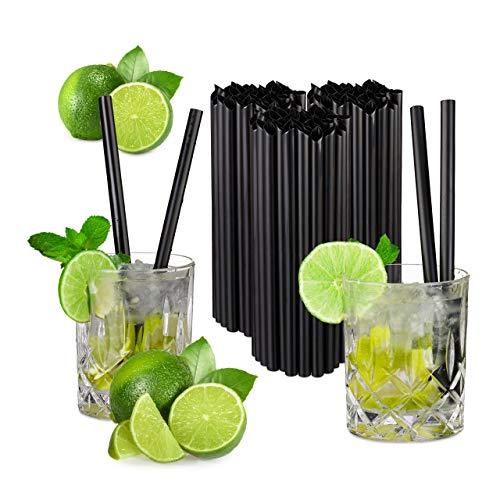 Relaxdays 150er Set Profi Gastro Strohhalme, Cocktail, Party, extrem starker Kunststoff, 10 mm Ø, 20 cm lang, schwarz