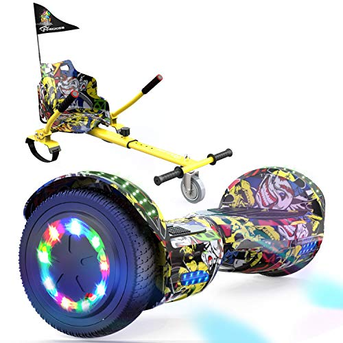 """EverCross Hoverboard, Self Balancing Scooter Hoverboard with Seat Attachment, 6.5"""" Hover Board Scooter with Bluetooth Speaker & Colorful LED Lights, Hoverboards Suit for Adults and Kids"""