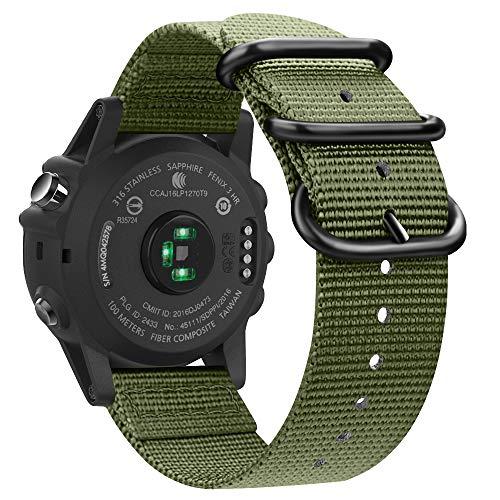 Fintie Band Compatible with Garmin Fenix 5X Plus/Tactix Charlie Watch, 26mm Premium Woven Nylon Adjustable Replacement Strap Compatible with Fenix 5X / 5X Plus / 3/3 HR Smartwatch (Olive)