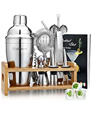Godmorn Cocktailshakerset, 15-delige set barkeepers met een betere bamboestandaard, receptenboek, maatbeker en bar lepel, 550 ml cocktailcadeauset voor thuis of de bar