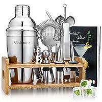 godmorn cocktail shaker set,14 + 1 pezzi kit da barman in acciaio inox,set di strumenti bar,550ml shaker con accessori, supporto bamboo aggiornato + spazzola pulita, ricetta