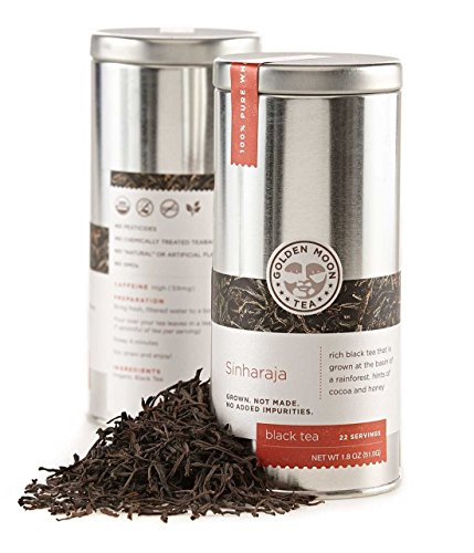 Golden Moon Organic Black Tea Sinharaja Ceylon - Loose Leaf, Non-GMO - Travel Tin (22 Servings)