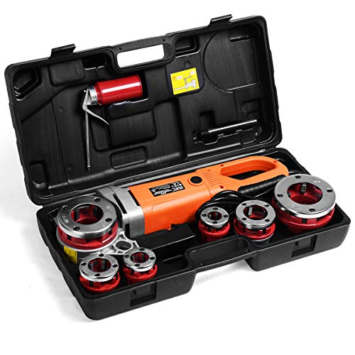 Goplus Portable Electric Pipe Threader, Hand Held Threading Machine w/Carrying Case, 6 Dies 1/2', 3/4', 1', 1-1/4', 1-1/2' & 2', HD 2000W Power Drive Pipe Threading Machine