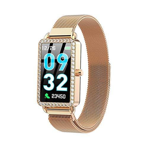 GLEMFOX Dames Smart Watch hartslag-bloeddrukmeter IP67 waterdicht horloge shake camera en muziekbesturing Bluetooth sportarmband zilver