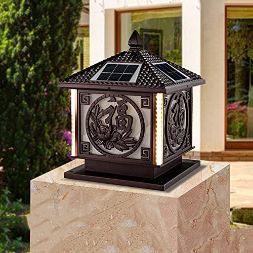 Zenghh Luz del pilar al aire libre de la luz solar para la luz del párrafo de la puerta LED LED de la cubierta de la columna impermeable Lámpara E27 MAINA 4 cara LED iluminación China estigma linterna