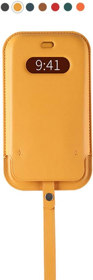 ALA7 Artificial Leather Sleeve with MagSafe& Wrist Strap for iPhone 12 pro max, MagSafe Wallet with Card Holder Support Wireless Fast Charge (Yellow)