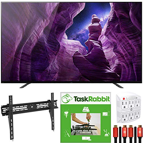 Sony XBR65A8H 65-inch A8H 4K OLED Smart TV (2020) 4K X-Reality Pro Bundle with TaskRabbit Installation Services + Deco Gear Wall Mount + HDMI Cables + Surge Adapter