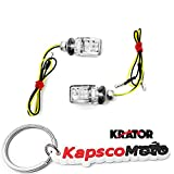 Krator 2pcs Mini Motorcycle LED Turn Signals Indicators Blinkers Lights Fits Metric Cruisers, Sport Bikes, Choppers, Harley Davidsons, Suzuki, Honda, Kawasaki, Yamaha + KapscoMoto Keychain