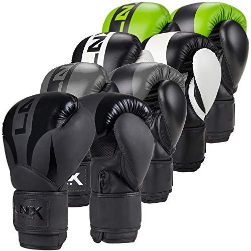 LNX Boxhandschuhe Nitro 8 10 12 14 16 Oz - Männer, Frauen, Kids Kickboxen Boxen Muay Thai MMA Kampfsport UVM schwarz/grau (004) 10 Oz