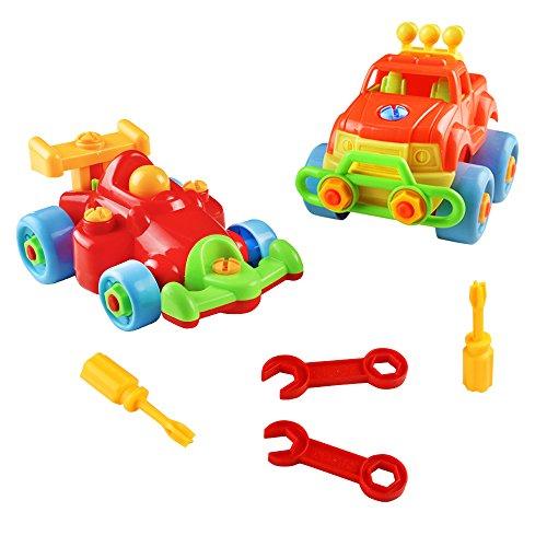 Fajiabao Vehicule Construction Jeu Assemblage Enfant Jouet Voiture Jeu Construction Jeep avec 2 Pcs pour Garcon Fille 3 Ans 4 Ans 5 Ans