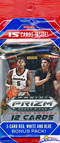 2020/21 Panini PRIZM Draft Picks Basketball JUMBO FAT CELLO Pack with 15 Cards including (3) EXCLUSIVE Red, White & Blue PARALLELS! Look for RC & Autos of LaMelo Ball, James Wiseman & More! WOWZZER!