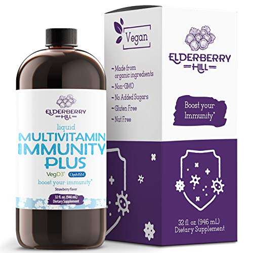 Vegan Liquid Immunity Plus Multivitamin with Antioxidants, Vitamin A B C D3...
