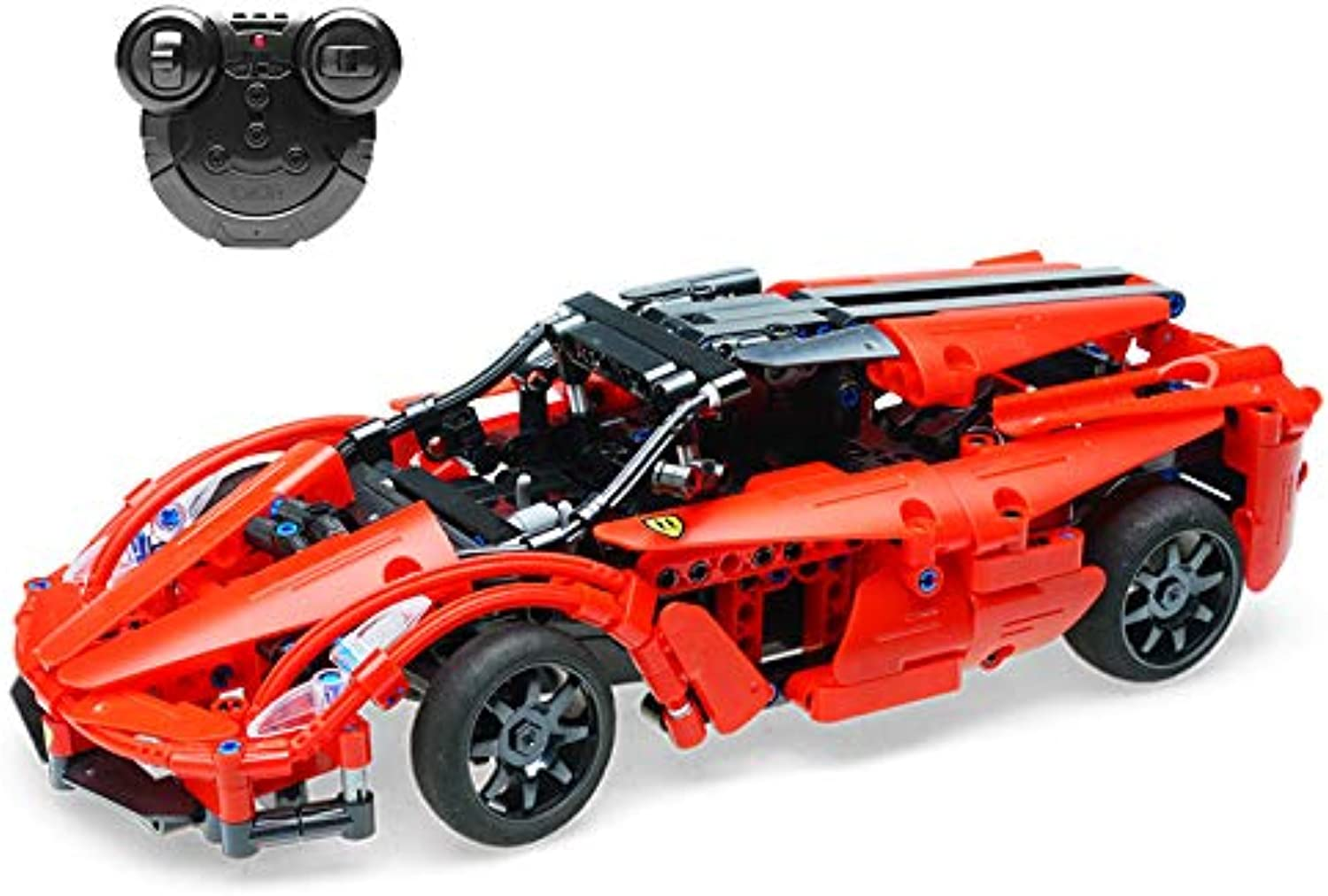 The perseids Remote Control Car Building Blocks Set, 2.4GHz RC Car Model Racing Toy Bricks Kit 380 Pieces  DIY Gift for Kids Youths (Red)