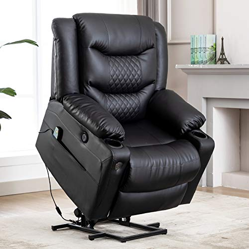 Power Lift Massage Recliner Chair,EVER ADVANCED Lazy Boy Sofa for Elderly,Infinite-position Lift Chair to 150 degree,Support 350 lb,Heat,Remote Control,Cup Holders USB Port,Office or Living Room,Black