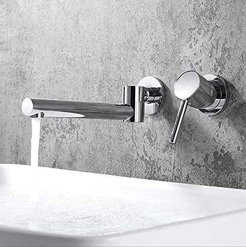 SJQKA-Grifo Oculto De Latón Para Lavabo, Grifo Lavabo Pared Grifería De Bañera Empotrable Caño Giratorio 180 ° (Silver)