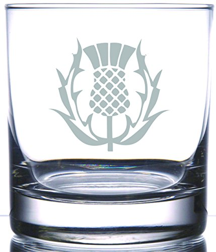 Scottish Thistle Rocks Whiskey Glass   National Symbol of Scotland Gaelic Celtic Irish Regions   Perfect for Scot Friends Family and Outlander and Highlander Fans
