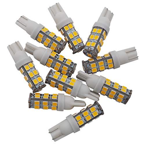 GRV T10 Wedge 192 921 194 25-2835 SMD LED Lights Bulbs DC 12V Super Bright Dome Interior Car Lights Warm White Pack of 10
