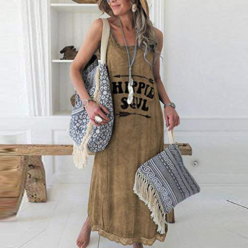NANTE Top Loose Women's Dress Hippie Soul Print Long Dresses Sleeveless Length Skirt Tank Tops Ladies Gown O-Neck Sundress (Khaki, L)
