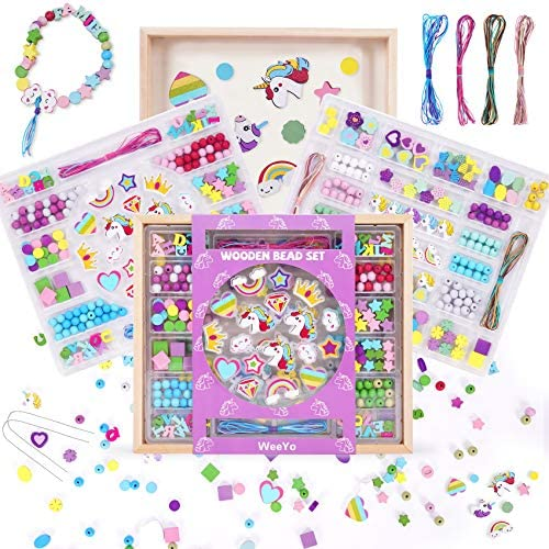 WeeYo 2 Pack Unicorn Crafts for Girls Ages 4 10 388pcs Wooden Bead Set in a Wooden Tray Wood product image
