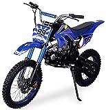 Actionbikes Motors Midi Kinder Jugend Crossbike JC125 125 cc - Hydraulische Scheibenbremsen - CDI Zündung - Bis 80 Km/h (Blau)