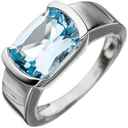 Ring Damenring mit Blautopas rechteckig blau hellblau 585 Gold Weißgold, Ringgröße:Innenumfang 54mm ~ Ø17.2mm