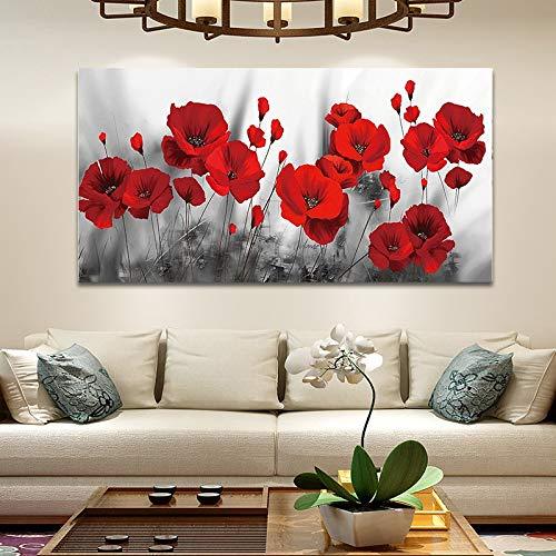 Impression sur toile Peintures Coquelicots romantiques avec des fleurs rouges affiches plantes et estampes, Salon Salle à manger Chambre Décoration Peinture Papiers peints Pas de cadre