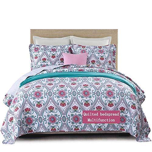 Ropa de cama, colcha de 3 piezas, edredón acolchado doble, mantas multifunción de algodón floral pastoral, mantas, funda de cama tamaño king (230 x 250 cm), funda de almohada (50 x 70 cm x 2),