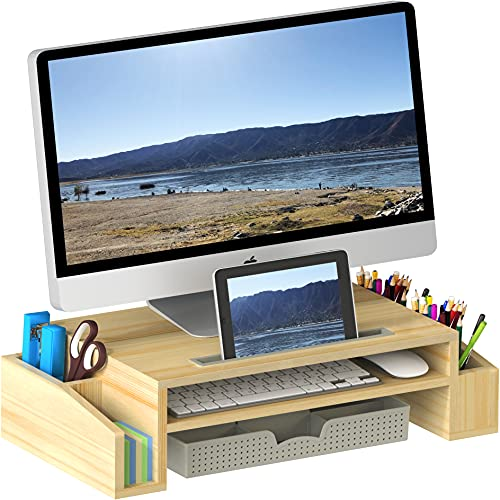 SimpleHouseware Desk Monitor Stand Riser with Adjustable Organizer Tray