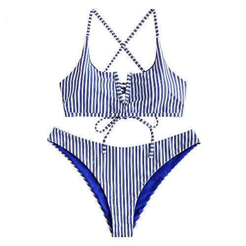 ZAFUL Damen Sexy V-förmiger Bikini mit Dünnem Riemen und Streifenmuster Bademode(Blau M-EU38)