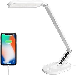 Lampe de bureau LED,JKSWT Lampes de table Protection des Yeux Lampe de bureau à intensité variable avec 5 modes de couleur...