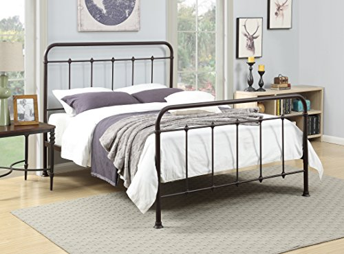 "Pulaski Curved Finial Frame Antique Brown, 63.77"" W x 85.62"" L x 53.34"" H Queen Metal Bed -  Home Meridian International, DS-2645-290"