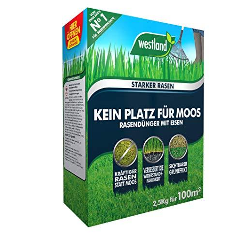 Westland Kein Platz für Moos 733490, Rasendünger mit Eisen, Für moosbelastete Flächen, Granulat, Dunkelbraun, 2,5 kg für 100m²