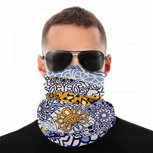 YUXB Stirnbänder für Männer Frauen Hals Gamasche, Gesichtsmaske, Stirnband, Schal Azulejos Fliesen Patchwork Nahtlose bunte Hand Turban Multi Schal doppelseitigen Druck