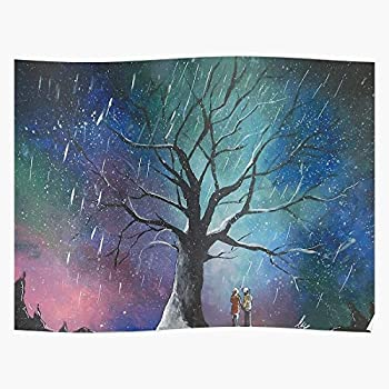 sygmos Christmas Anime Tree Erased Night Manga Cute Acrylic Impressive Posters for Room Decoration Printed with The Latest Modern Technology on semi-Glossy Paper Background