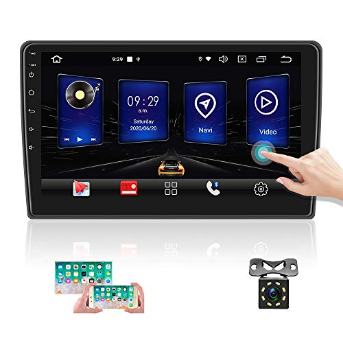 OiLiehu Autoradio doppio Din Android, Ricevitore autoradio HD da 10 pollici, Touch screen MP5 Supporto multimediale Bluetooth/GPS/FM/Dual System Mirror Link / 4G WIFI + Telecamera di backup