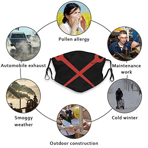 Ironworker Crossed Tools Face Mask Balaclava Windproof Adjustable Elastic Strap with 2 Filters, Reusable Washable Ear Loops for Women Men Adult Gift Sport Outdoor Travel Party Black