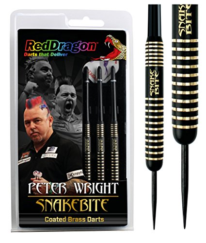 RED DRAGON Peter Wright Snakebite 22g Brass Darts mit Flights und Schäfte