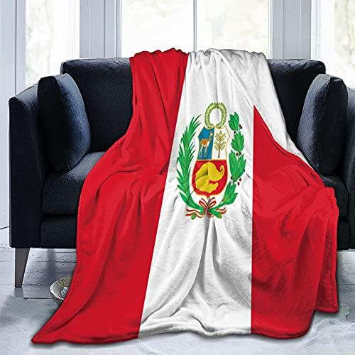 Gggo Manta de Tiro de Franela,Bandera Peru Ligera Supersuave para niños Adultos Manta de Felpa Impresa Aplicar para Cama sofá,Viajes 125x100cm