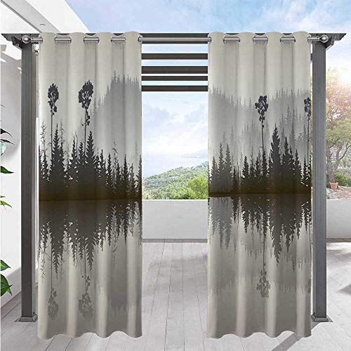 Print Curtains Misty Northern Nature Jungle with Hills and River at Dusk Water Reflection Home Fashion Window Panel Drapes Adds Ambiance to Area Cream Grey Brown W72 x L84 Inch