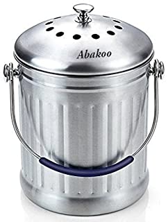 Compost Bin 1.8 Gallon Stainless Steel - Abakoo 304 Stainless Steel Kitchen Composter - 4 Charcoal Filter Indoor Counterto...