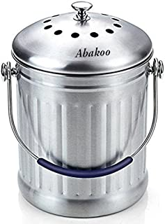 Abakoo Compost Bin 1.8 Gallon Stainless Steel 304 Stainless Steel Kitchen Composter - 2 Charcoal Filter, Indoor Countertop Kitchen Recycling Bin Pail