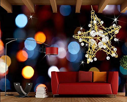 MINCOCO kerstster met verlichting 3D behang woonkamer bank tv muur slaapkamer partij achtergrond muur restaurant muurschildering 300x210cm(118.1x82.7inches)