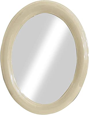 Majik Newest Arrival Plastic Oval Shape Vanity Wall Mirror for Bathroom Wash Basin Bedroom Living Room Area Home Décor Mirrors 20 Grams Pack of 1 (Oval Cream)