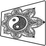 Alfombrilla de ratón (600x300x3 mm) Ying Yang, Caracteres asiáticos de Yin Yang para el Movimiento y la armonía en el patrón de Manda Superficie Suave y cómoda de la Alfombrilla de ratón para Juegos