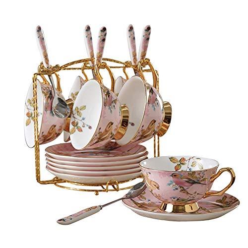 Best Bargain Porcelain Tea Set 12 Pieces Gold Trim Flower Pattern Afternoon Tea Drinkware Coffee Set...