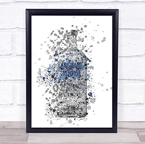 Absoluut blauwe wodka fles muur kunst ingelijst Print Framed Oak Large
