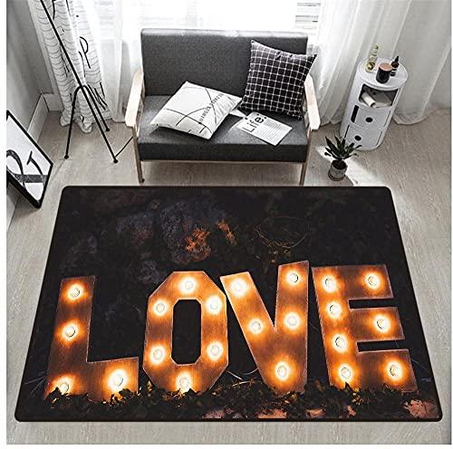 Alfombra y Felpudo Impresión 3D Deslumbramiento Amor Dormitorio Sala de Estar Habitación de Los Niños Pasillo Antideslizante Mesa y Silla Cojín Alfombra Decorativa 40X60 cm