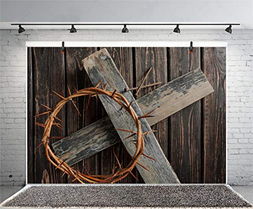 Yeele 7x5ft Crown of Thorns Backdrops for Easter Wooden Cross Jesus Dark Brown Lron Nail Easter Resurrection Photography Background Christian Pictures Kid Adult Artistic Portrait Photoshoot Props