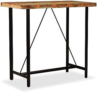 Festnight Table de Bar en Bois Massif Table de Salle à Manger Table Haute Cuisine Style Industriel 120 x 60 x 107 cm